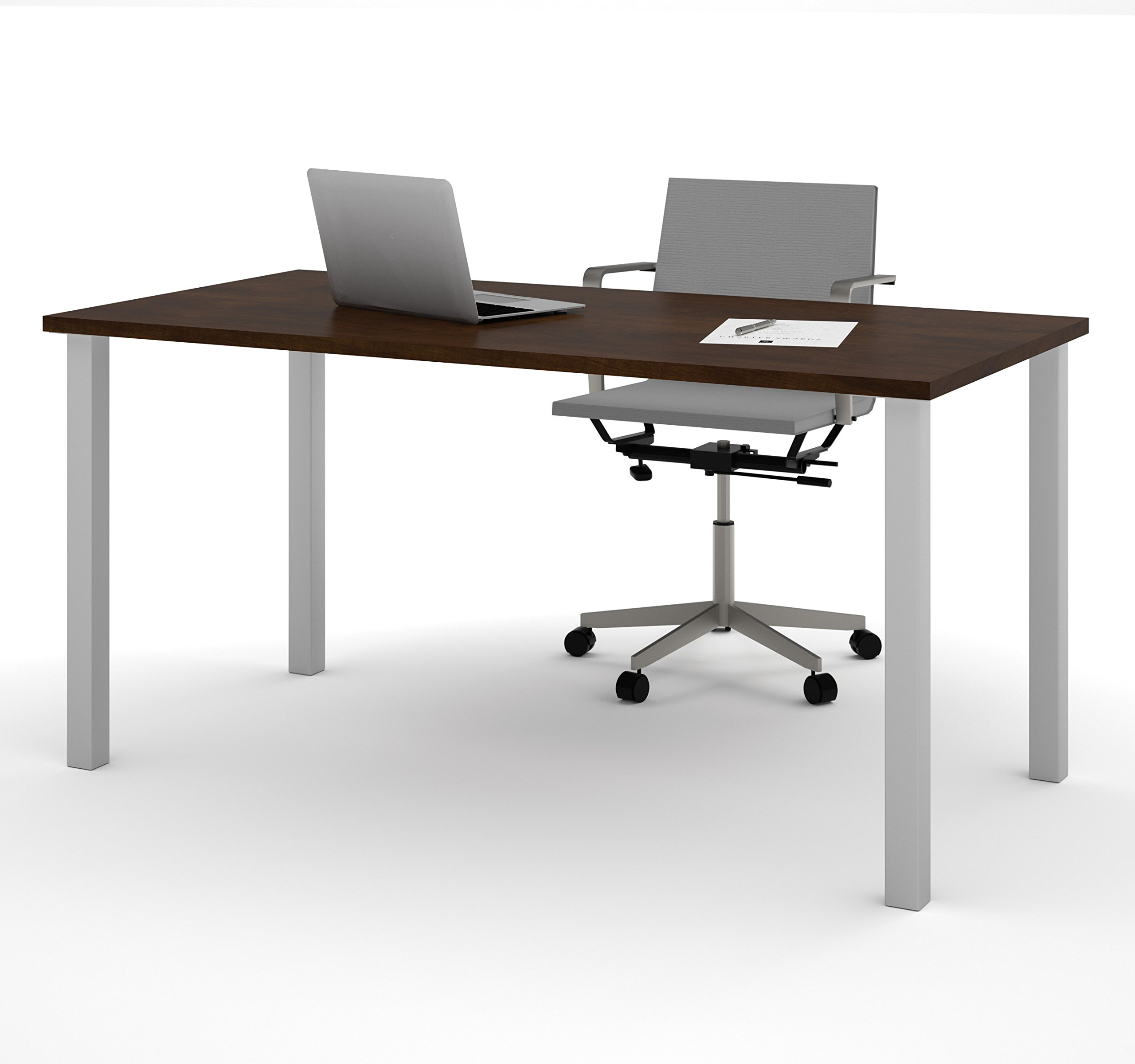 BESTAR Table with Square Metal Legs, 30 x 60'', Chocolate