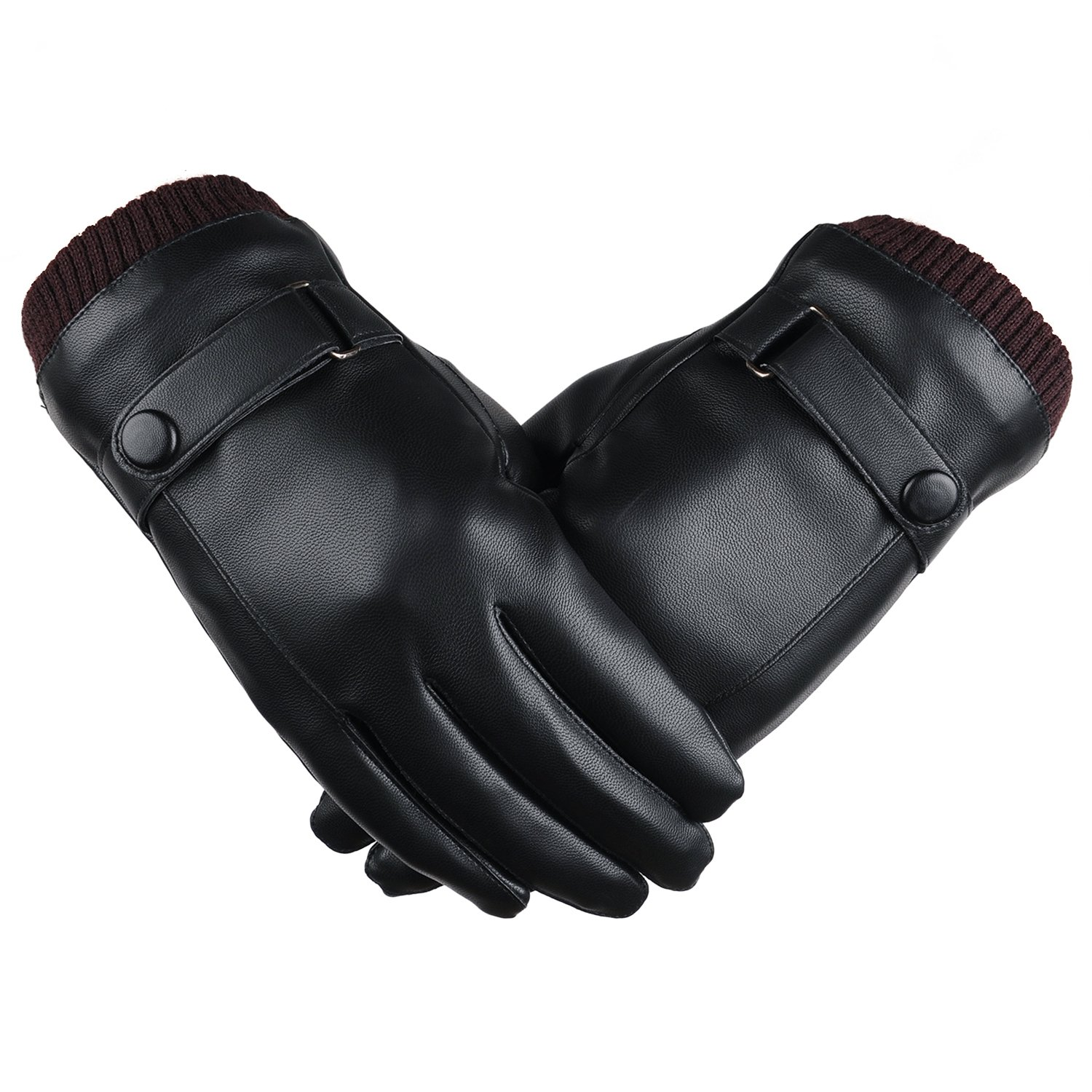 ANVEY Mens PU Leather Gloves Super Warm Touchscreen Winter Driving Gloves Cashmere (black)