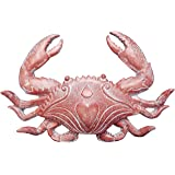 World of Wonders - Ocean Harmony Series - Crab Grab - Elegant Red Crab Wall Mount Key & Jewelry Holder Hand-Painted Beach Hou