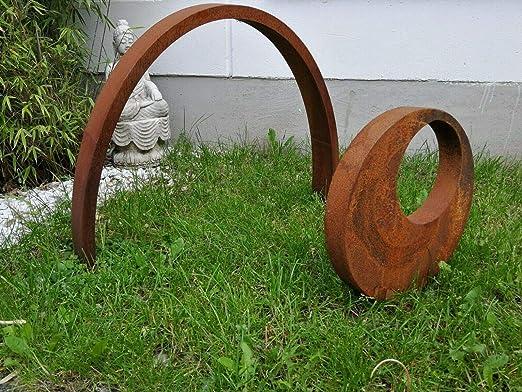 Zen Man - Juego de 2 Figuras de jardín (58 cm de Alto, 40 cm de diámetro), Color óxido: Amazon.es: Jardín