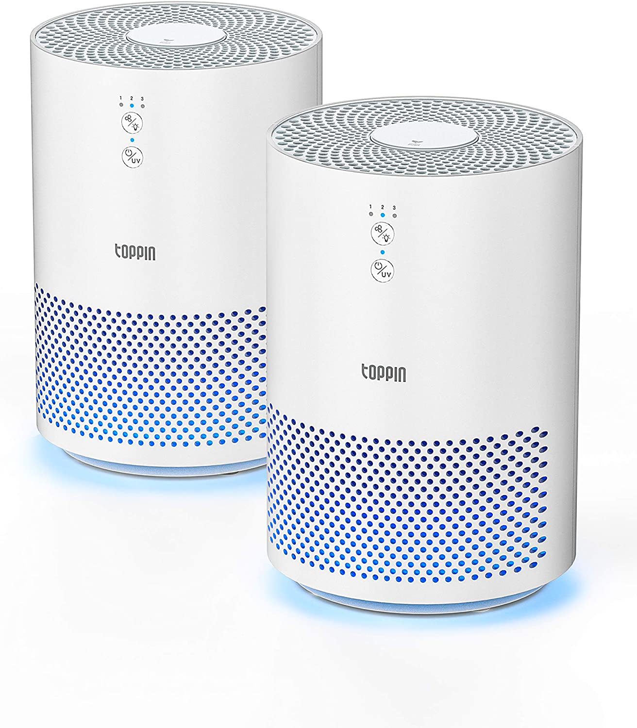 TOPPIN HEPA Air Purifiers for Home with UV Light Fragrance Sponge 2pcs Pet Hair Dander Pollen Smoke Dust Airborne Contaminants Odors Home Air Cleaner with Filter Night Light