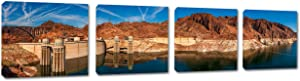 40 x 10 - Hoover Dam Canvas Print Wall Art 3 Panel Split, Panoramic. USA Landmark Home Decor, Interior Design