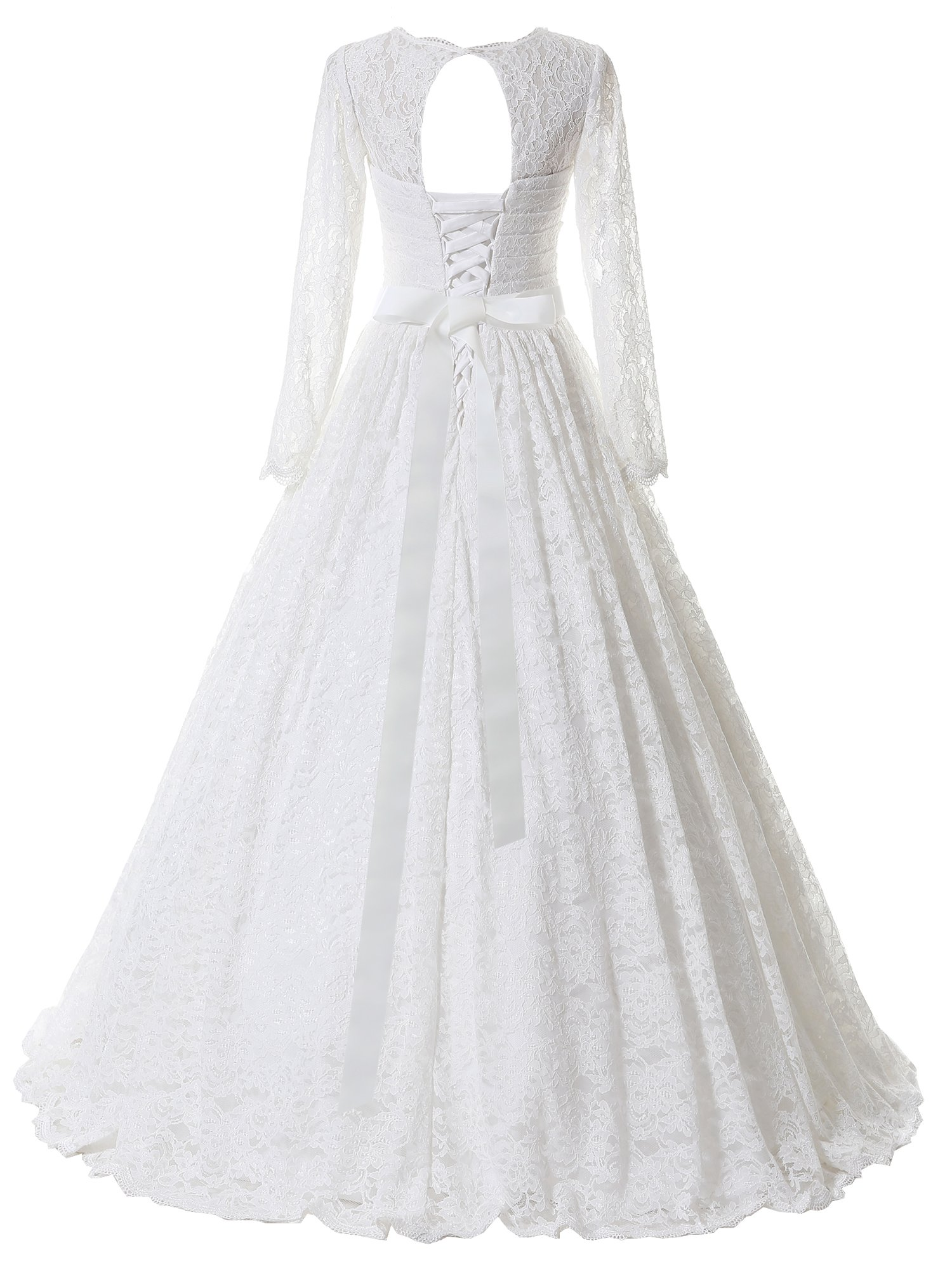 d80fd80c55515 Home/Bride Dresses/SOLOVEDRESS Women's Ball Gown Lace Princess Long Sleeves Wedding  Dress Sash Beaded Bridal Gown (US 20 Plus,White). ; 