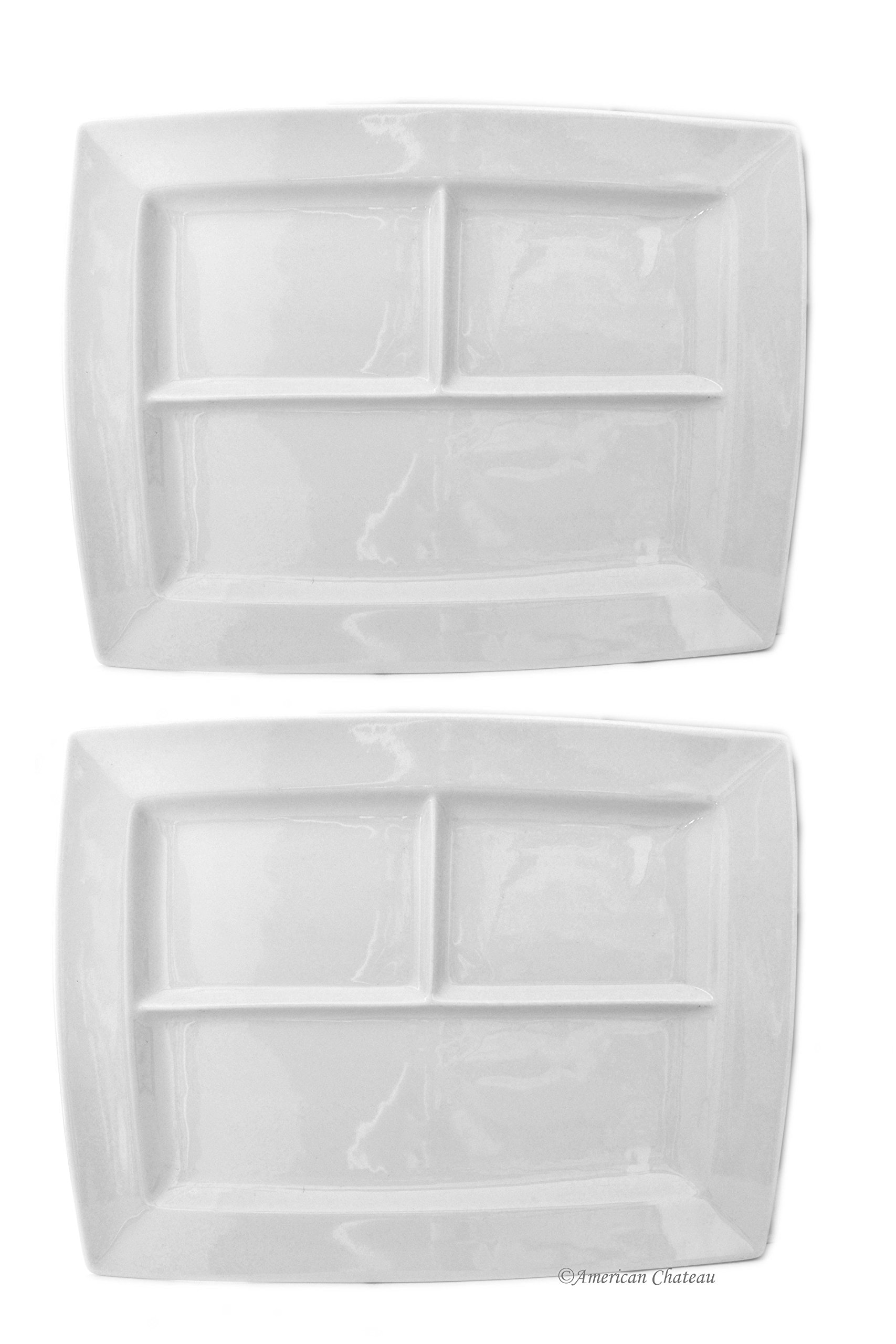 Set of 2 Large White Porcelain Divided 14'' x 11'' Fondue Plates Platters Trays by American Chateau