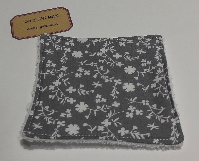 Lingette lavable bébé & maman Fleur grise