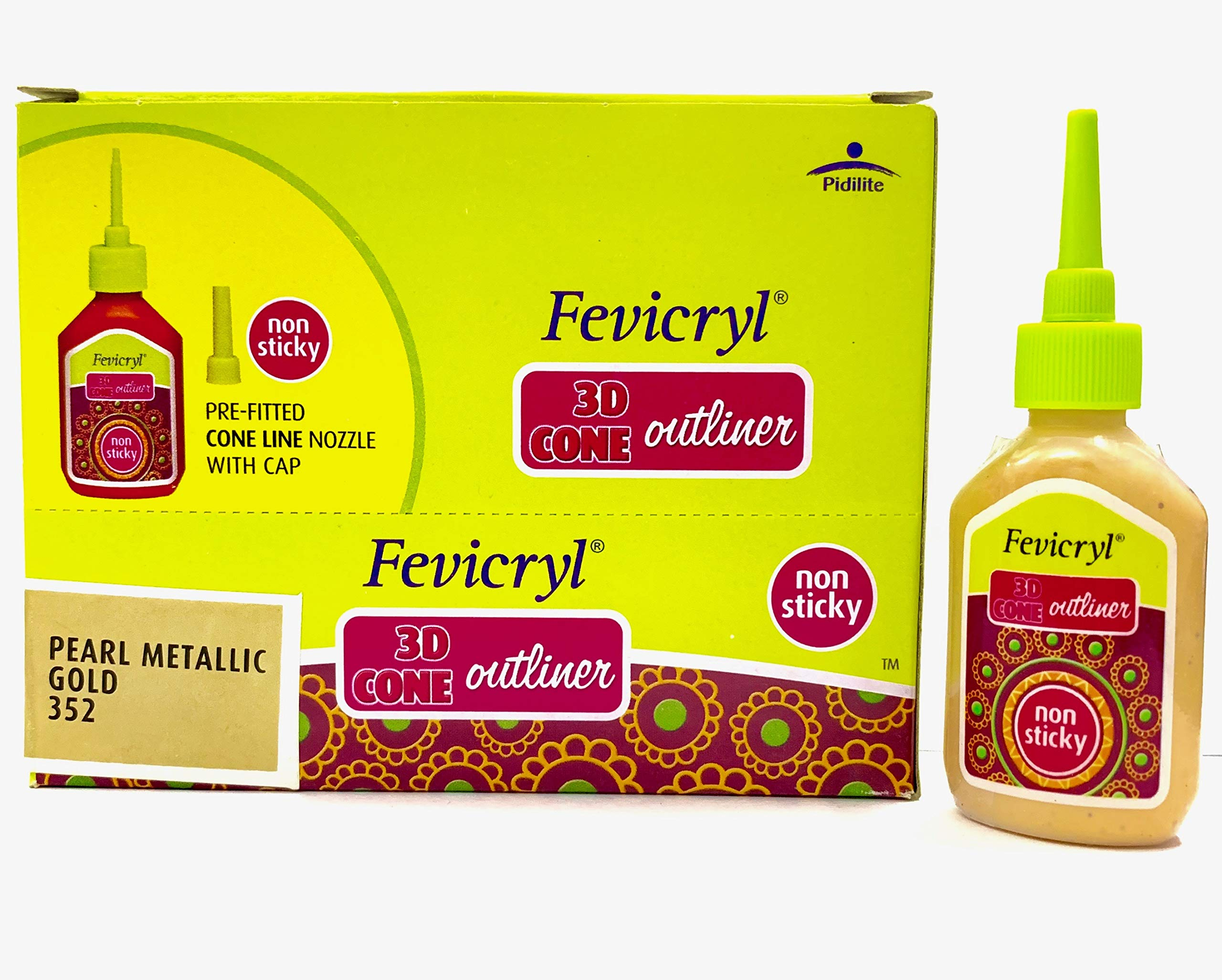 New Fevicryl Non Sticky 3D Cone Outliner Non-Toxic with Pre-Fitted Cone Line Nozzle with Cap (352) - 20ml Bottle -10 Bottle Pack - Colour - Pearl Metallic Gold- with Free 3D Keyring by Fevicryl