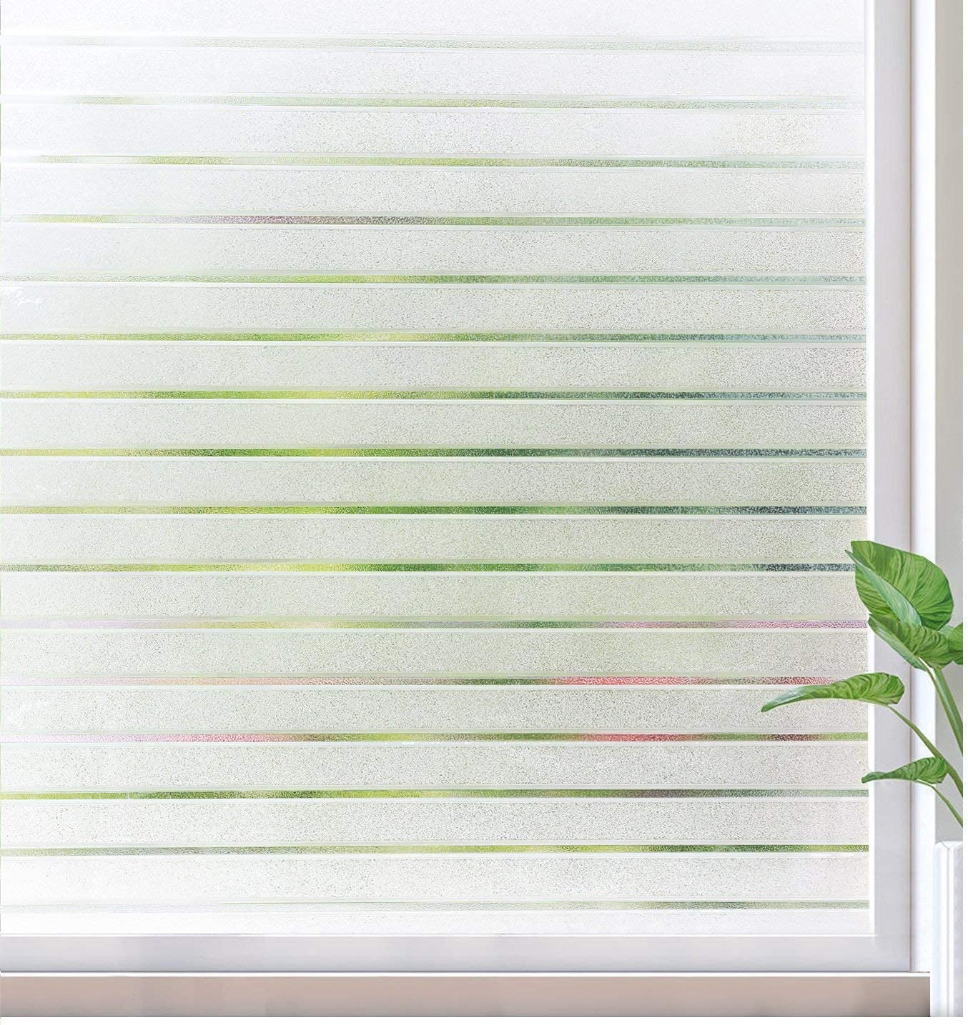 rabbitgoo Window Film Static Cling Decorative Privacy Film Non Adhesive Window Sticker UV Protection Window Covering Light Blocking Film, Removable & Reusable, Stripe Patterns, 35.4 x 78.7 inches
