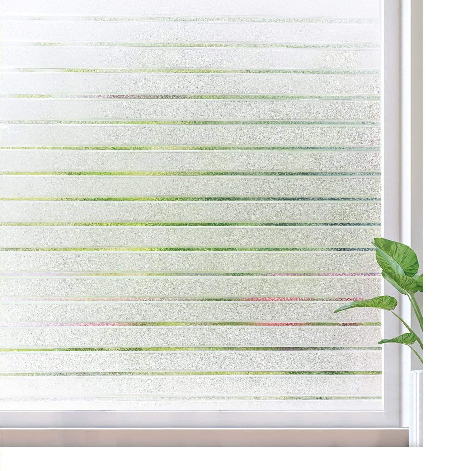 rabbitgoo Frosted Window Film Static Cling Decorative Glass Film UV Protection Window Privacy Film Non Adhesive Window Cling for Home Office Meeting Room, Frosted Stripe Patterns, 17.5 x 78.7 inches