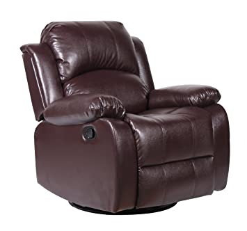 Bonded Leather Rocker And Swivel Recliner Living Room Chair (Brown)
