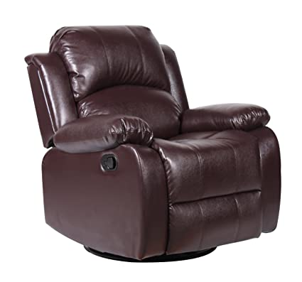 Divano Roma Furniture Bonded Leather Rocker And Swivel Recliner Living Room  Chair (Brown)