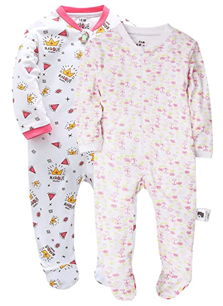 88f1e4e3e1ac Marquebaby Baby Footed Pajama - Zip Front 100% Cotton Sleeper Size 3 ...