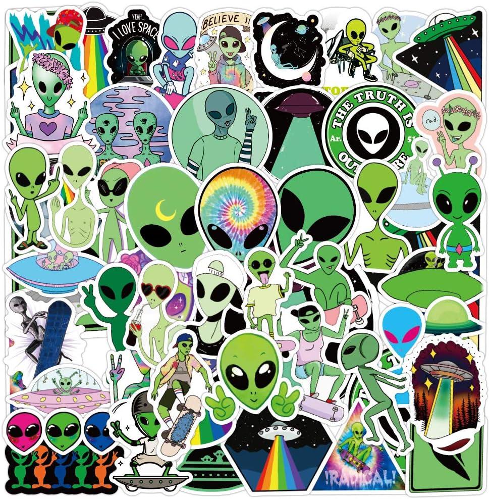 Alien Sticker Pack of 50 UFO Stickers ET Decals for Laptops Hydro Flasks Water Bottles Luggage Helmet