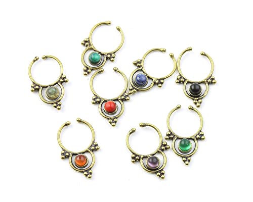 Boho Tribal Septum Ring Body Jewelry Faux Nose Ring Gemstone Septum Indian Nose Ring Faux Septum Ring Stone Septum Fake Septum Ring