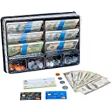 Learn & Climb Play Money Set for Kids – Realistic Dollar Bills, Coins, Credit & Debit Cards & Checkbook. Add-on for Pretend P