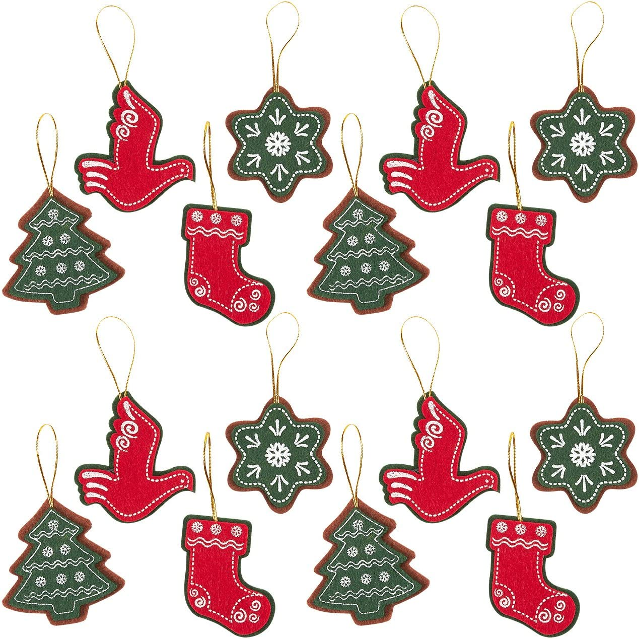 Felt Christmas Ornament, Holiday Ornaments Set 21 Designs, 21 Pack