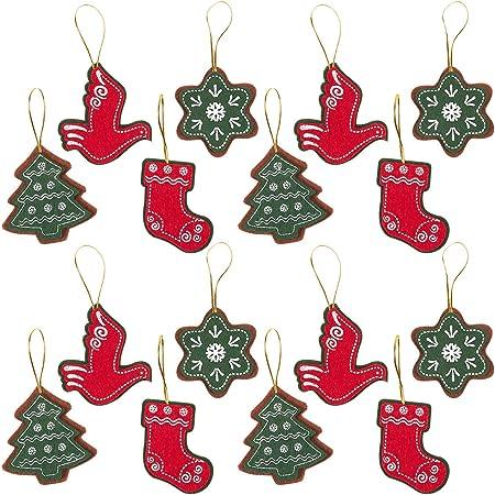 Pack de 16 adorno de fieltro – Juego de estrella, árbol de Navidad ...