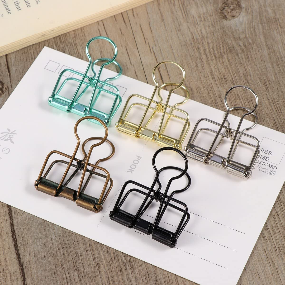 TOYMYTOY Metal Wire Binder Clips Organizers Paper Photo Clips for Office,8pcs,Medium Size