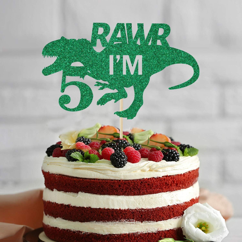 T-Rex 5 Birthday Dinosaur Theme Birthday Decorations Green Glitter Five Birthday Decor Happy 5th Birthday Dinosaur Rawr Im 5 Cake Topper