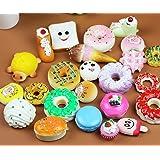 20pcs Soft Kawaii Squishy Bread Keychain Charm Strap Panda Toasts Donuts