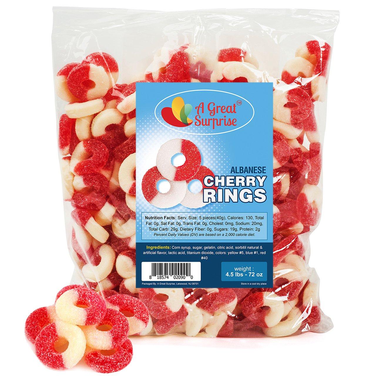 A Great Surprise Anillos Gummy Candy - Gomitas de color rojo y blanco - cerezos anillos Gummy - a granel del caramelo 4,5 LB 72 onzas: Amazon.es: Hogar