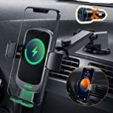 Auckly Qi 15W trådlös billaddare, [Dold automatisk], snabb i bilen trådlös laddare kompatibel för Galaxy S20/S10/S9, bil…