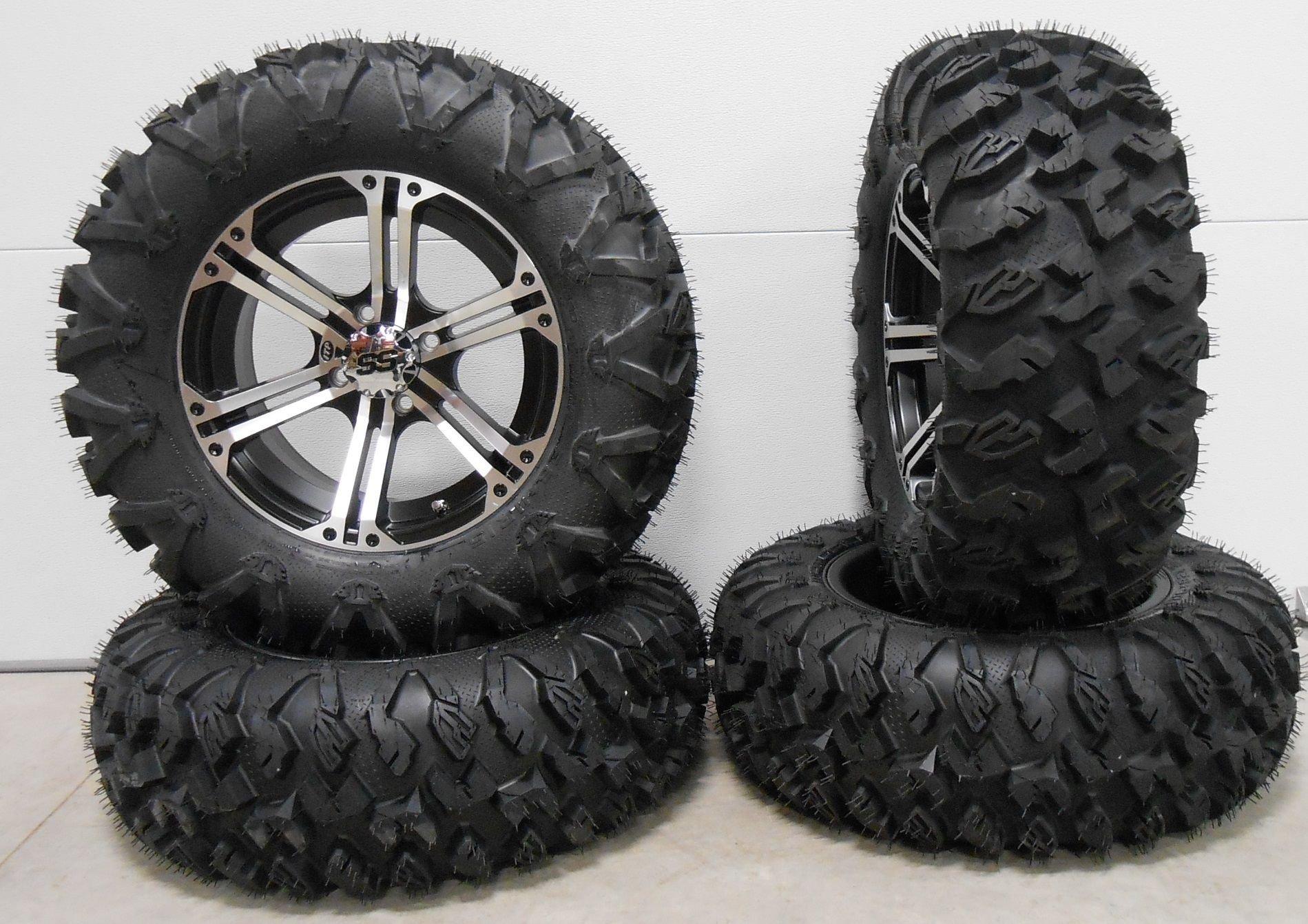 Bundle - 9 Items: ITP SS212 15'' Wheels Machined 28'' EFX MotoClaw Tires [4x156 Bolt Pattern 12mmx1.5 Lug Kit]