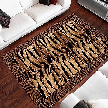 Amazon.de: Teppich Wohnzimmer Modern - Farbe Braun Schwarz Design ...