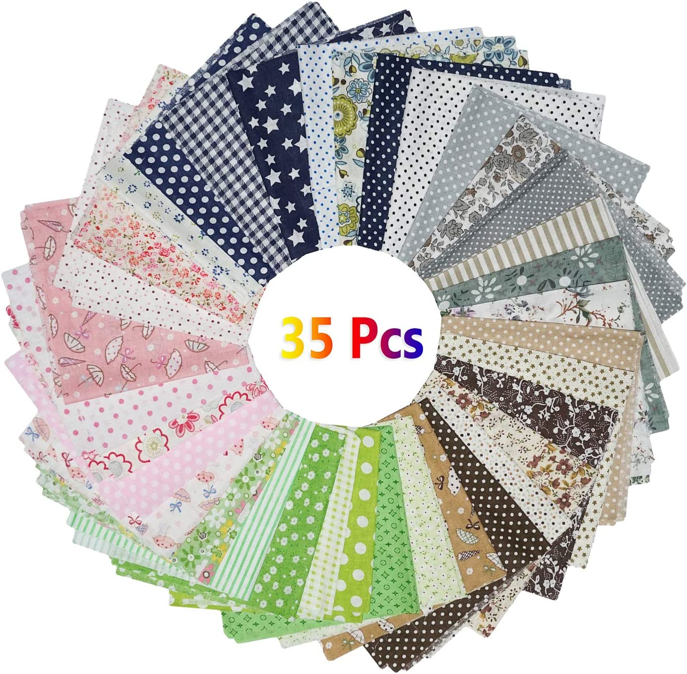 Patchwork Fabric with Flower Pattern Material for Quilting Floral Fabric TUOCO 35 Pcs DIY Cotton Fabric Patchwork Squares Fat Quarters Fabric Bundles Cotton Sewing Material Fabric for Sewing