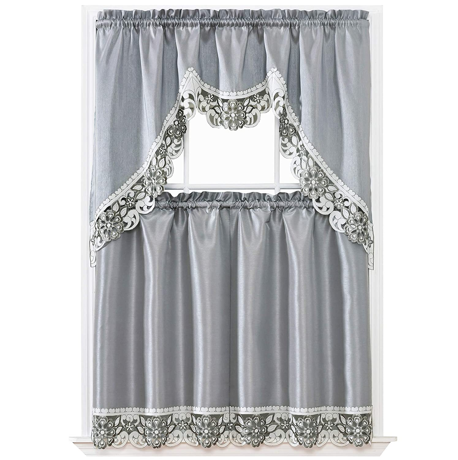 GOHD Golden Ocean Home Decor Dreamland Kitchen Cafe Curtain Set Swag Valance and Tier Set. Nice Matching Color Embroidery on Border with cutworks (Silver Grey)