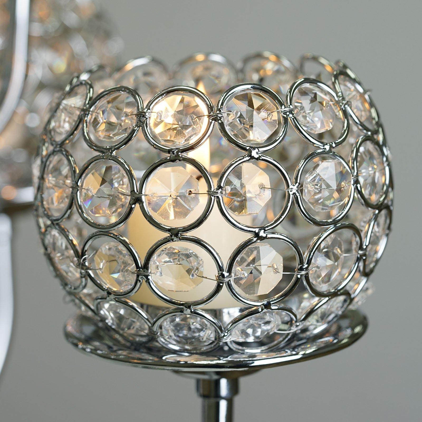 Efavormart 39.5'' Silver Crystal Beaded 13 Arm Candelabra Chandelier Votive Candle Holder Wedding Centerpiece by Efavormart.com (Image #7)