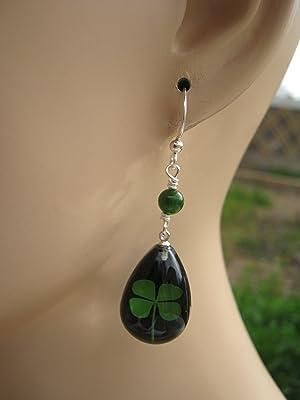 Four Leaf Clover Earrings, Sterling Silver, REAL Pressed Clover Earrings, Botanical Drop Black & Jade Earrings