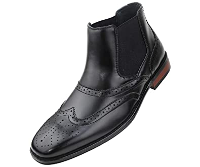 Amali Mens Burnished Wing Tip Demi Boot Dress Shoe, Style Kane Black