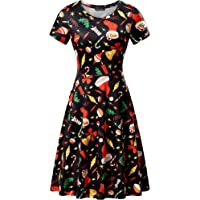 FENSACE Christmas Dress, Womens Santa Claus Printed Gifts Xmas Dress