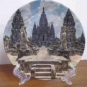 LCGGDB 10 Inch Ancient Pattern Ceramic Decorative Plate,Sewu Indonesia Stone Ceramic Stoneware Decorative Plate Decor Accessory for Pasta, Salad,Party Kitchen Home Decor