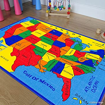 Amazon.com: Allstar 3 X 5 Kids Usa Map Fifty States Area Rug (3\' 3 ...