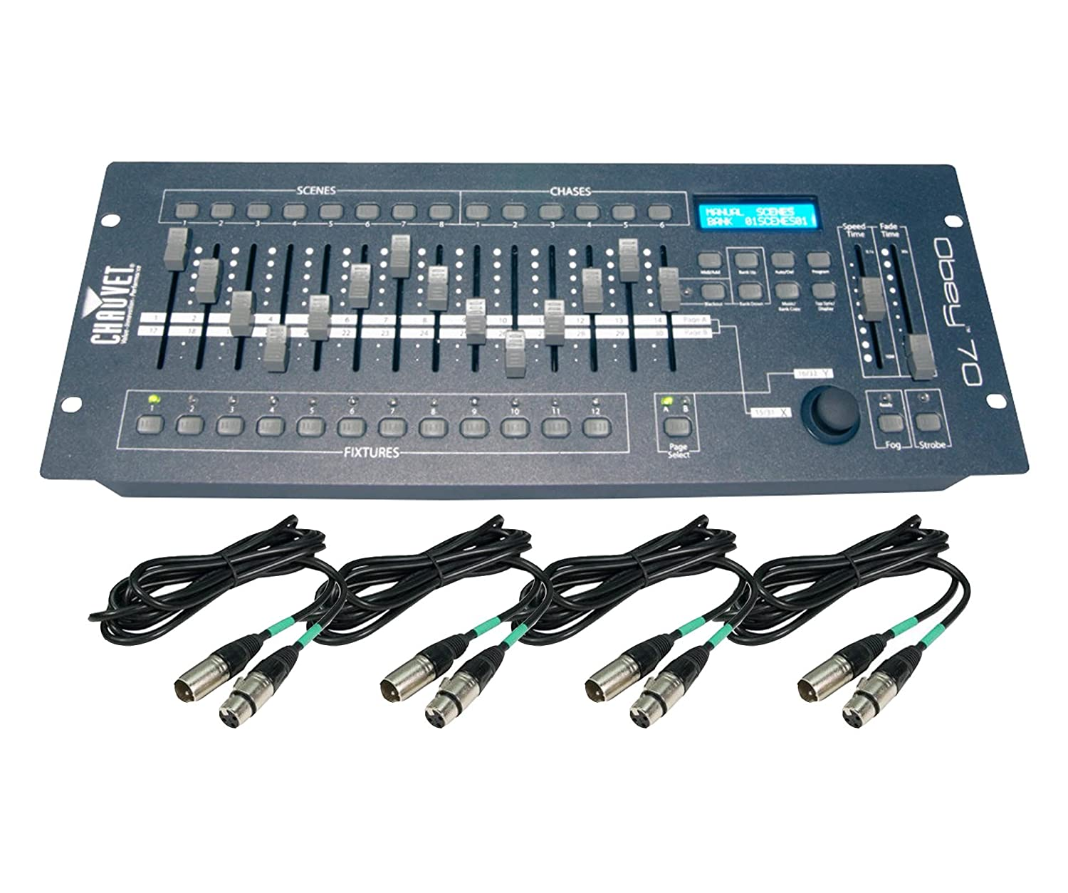 Amazon.com: Chauvet DJ OBEY70 Obey 70 Lighting & Fog DMX-512 Controller and  10' & 25' Cables: Musical Instruments