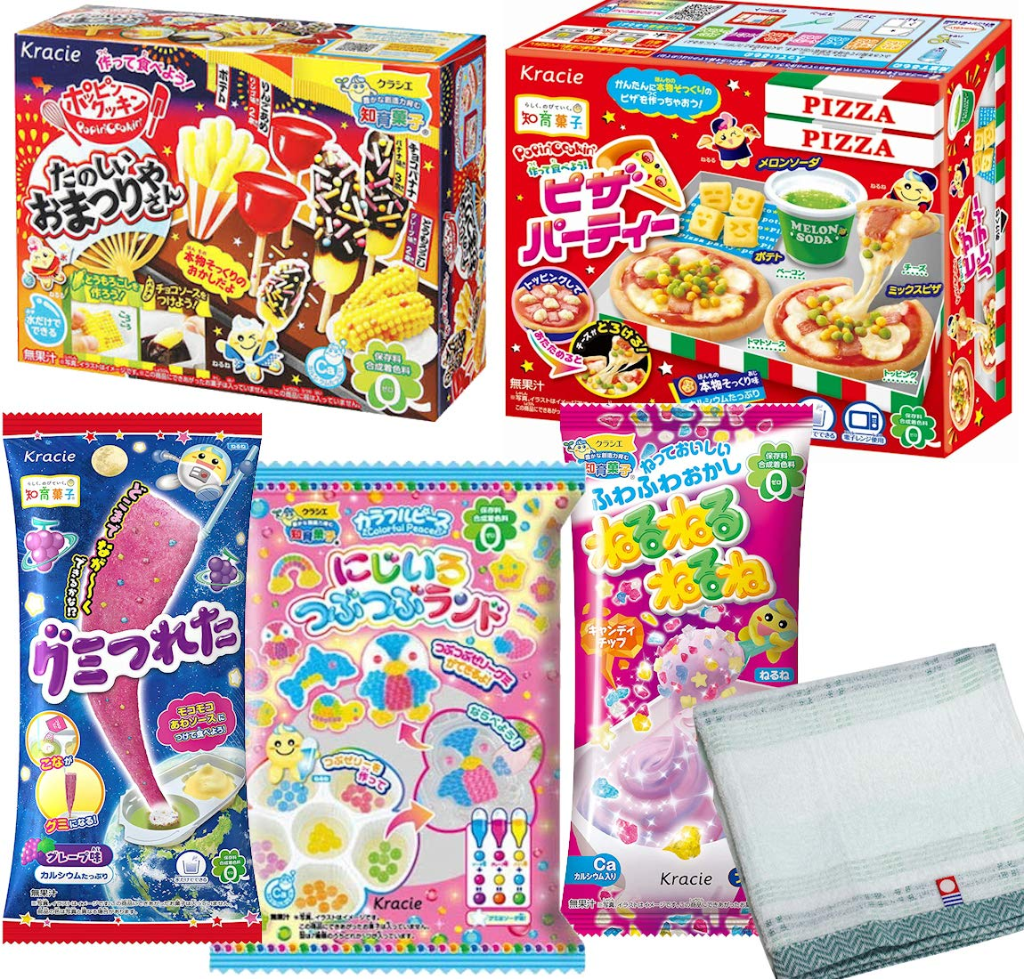 Japanese candy Popin Cookin Assorted DIY Candy kit 5 type set with Imabari towel