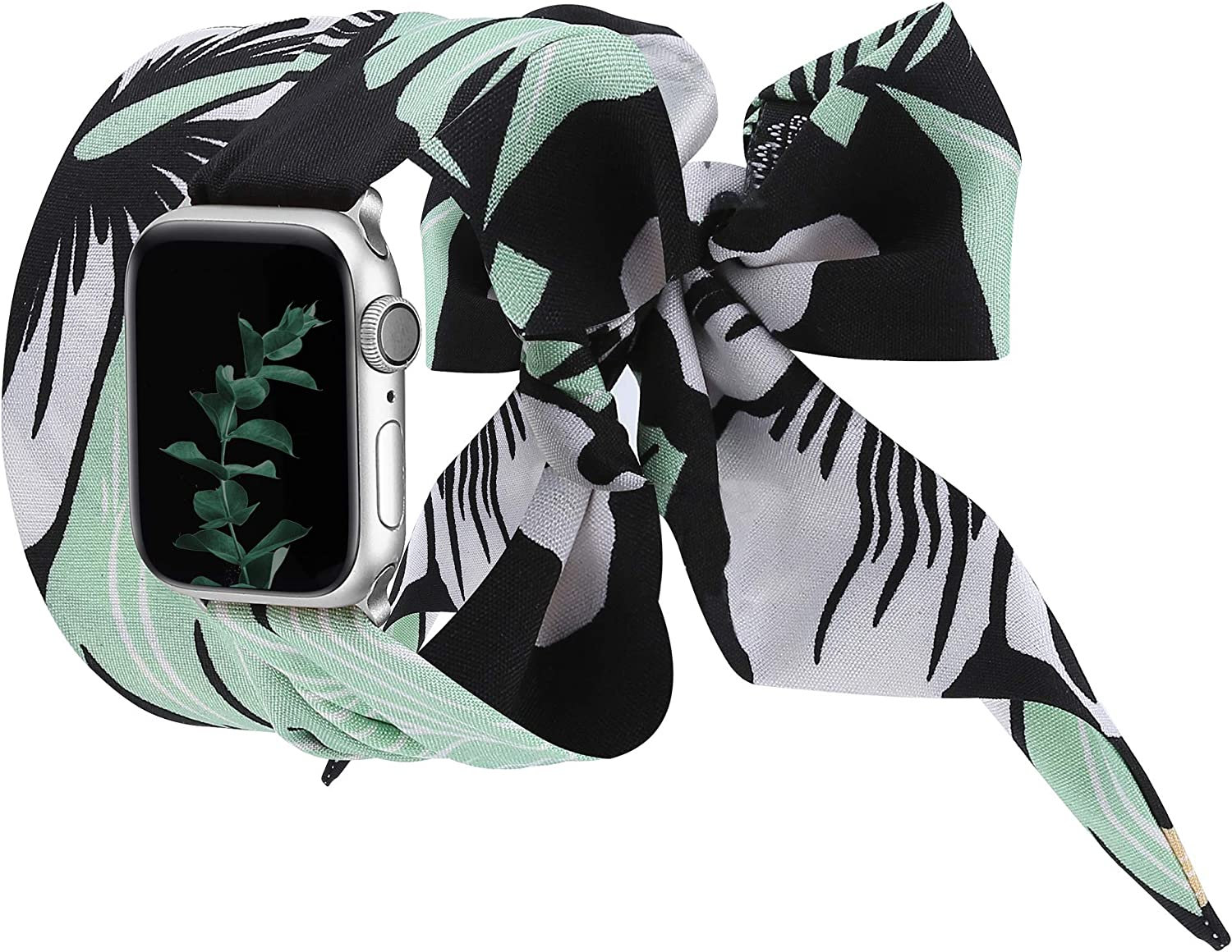 Wearlizer Compatible with Apple Watch Bands Scarf 38mm 40mm for iWatch Band Women Girls Fashion Scarf Replacement Wrist Strap for Apple Watch SE Series 6 5 4 3 2 1 - Green Floral
