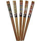 Cinq Paires de baguettes japonaises décorée