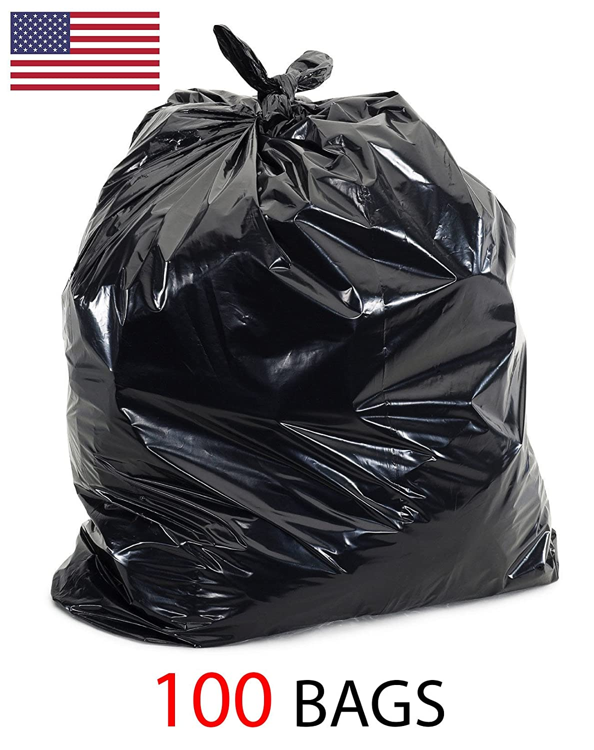 39 Gallon 1.5 Mil Strong Trash Bags, Lawn Leaf Bags, Heavy Duty Trash Bag, Contractor Garbage Bag (100)