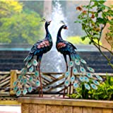 CHISHEEN Garden Peacock Statues Outdoor Metal Decor, Garden Art Sculptures Standing for Patio Yard Lawn Pond Home Decorations