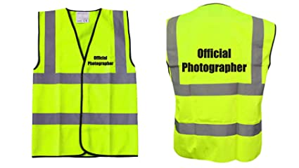 Yellow Hi Vis Vest Official Photographer Vest Waistcoat Safety Vest
