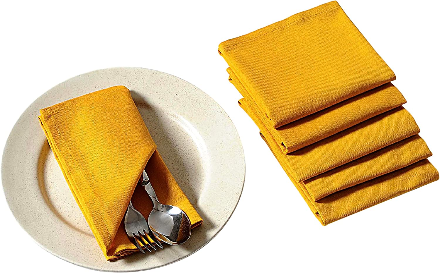 Napkins Indian Yellow Polka Dot Cotton with Mitered Corners Approximately 17 x 17  Sold as a Set of 4