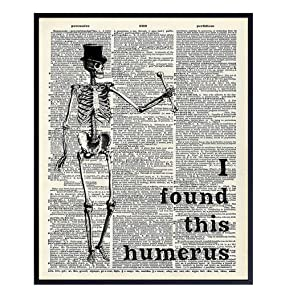 Funny Skeleton Dictionary Art Poster - 8x10 Upcycled Steampunk Home, Apartment or Wall Decoration, Room Decor for Home or Doctors Medical Office - Cool Unique Gift for Goth Fans - Picture, Print Photo
