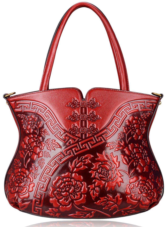 3fb6c73d0071 PIJUSHI Designer Floral Handbag for Women Top Handle Satcehl Bags Cheongsam  Shoulder Bag (22331 Red)