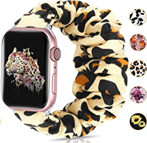 Moretek Scrunchie Watch Bands Compatible with Apple Watch Band 42mm 44mm,Soft Pattern Printed Fabric Sport Replacement Wristbands Women for iWatch Series 6 5 4 3 2 1 SE