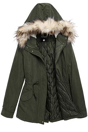 8cf0c68ea1f0fb ACEVOG Women Winter Warm Thick Faux Fur Coat Outdoor Hood Parka Jacket (L,  Army