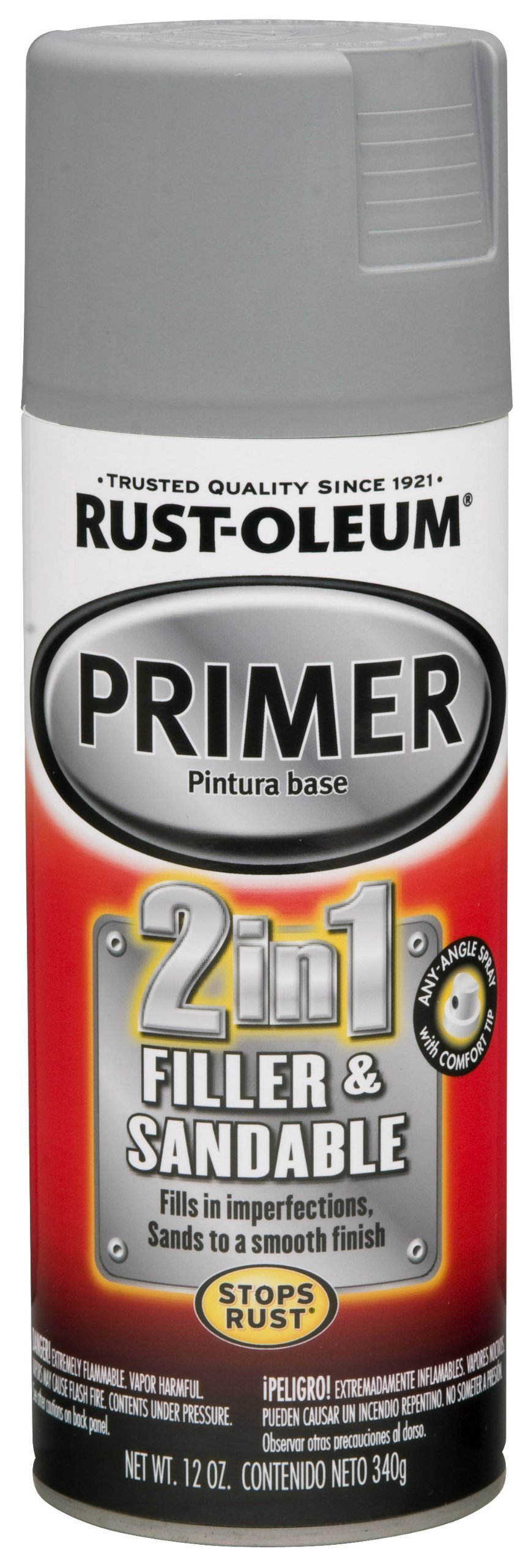 Rust-Oleum Automotive 260510 12-Ounce 2 In 1 Filler and Sandable Primer Spray, Gray - 6 Pack