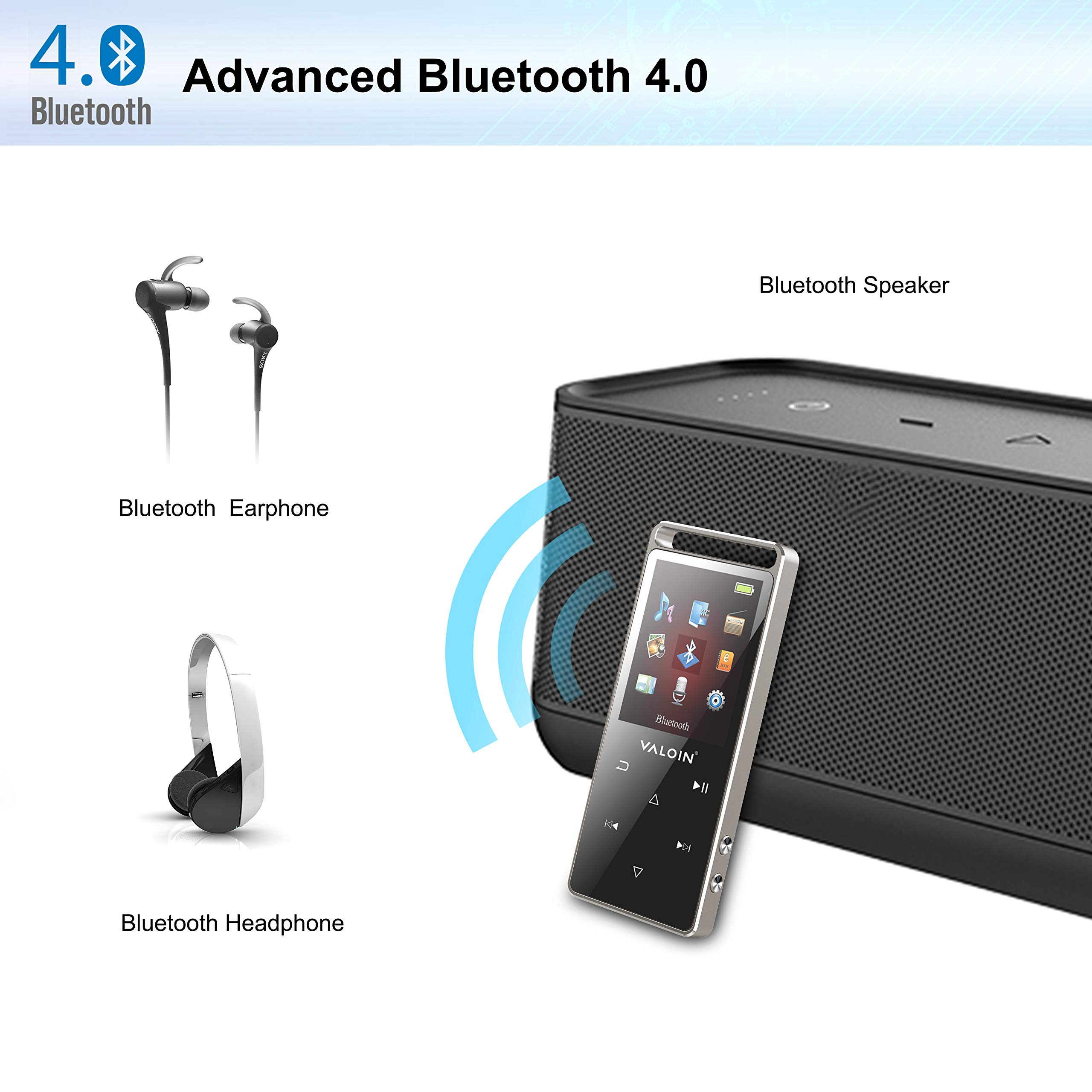8Gb MP3 Player Advanced Bluetooth 4.0,2019 Lastest Digital Music Player with 1.8 Inch Screen Touch Button Support Video/EBook/FM Radio for Sport by Valoin (Image #3)