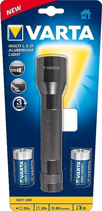 27 opinioni per Varta 16628 Torcia LED Multiuso, 2 Batterie C, Argento
